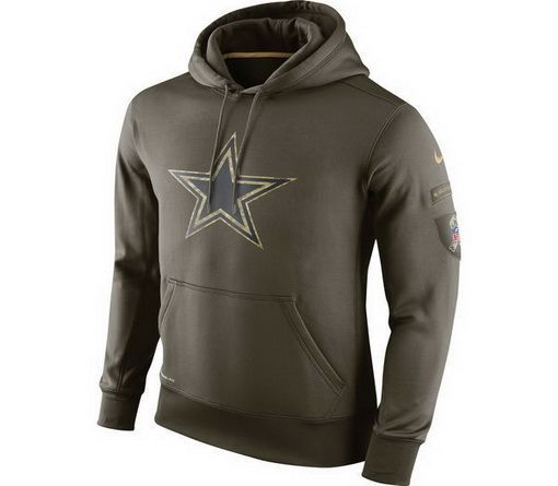 NFL Nike Men Dallas Cowboys Nike Olive Salute To Service KO Performance Hoodie