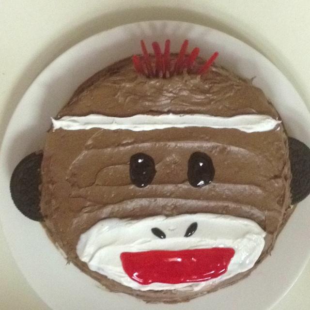 Sock monkey smash cake!
