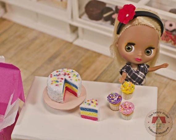 Miniature Rainbow Cake & Cupcakes Colorful Dollhouse Cake and
