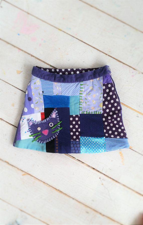 patchwork rok meisje blauw paars van MevrouwHartman op Etsy
