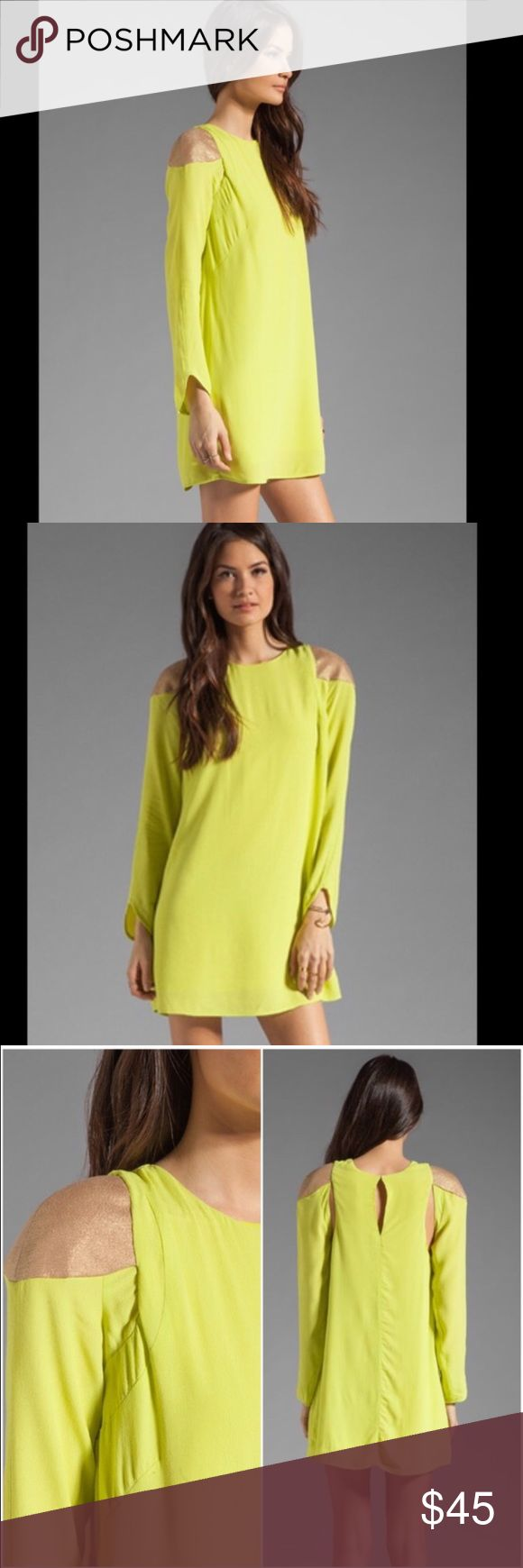 "NWT Finders Keepers Waiting Game Dress in Lime Brand new with tags Finders Keepers ""Waiting Game"" dress in electric lime and gold. Cute cutout back detail. Size medium. ❌Trades/holds❌ I ship within one business day of your order.  Poshmark rules only. Thank you for looking! 🚭🐩 B1 Finders Keepers Dresses Mini"