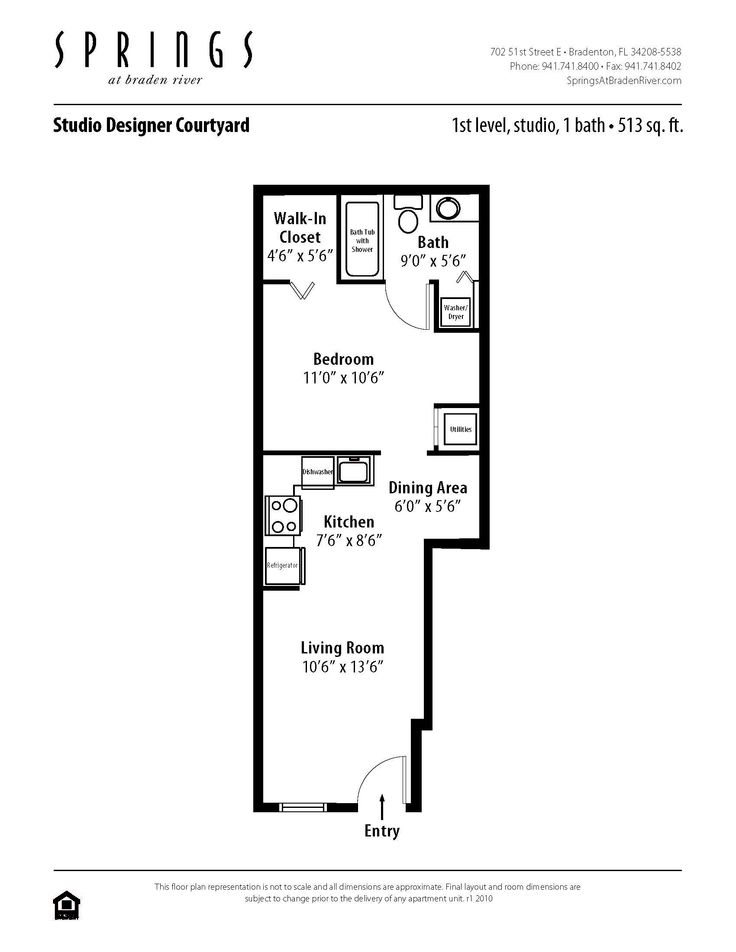 Studio 1 Bath 513 Sf Apartment At Springs Braden River In Bradenton FL This Has A Walk Closet And Spacious Living Room