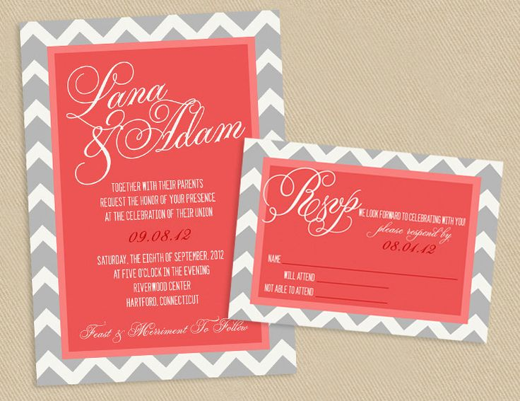Printable Wedding Invite And RSVP Invitation Set   Coral And Grey Chevron  Script Calligraphy Names.