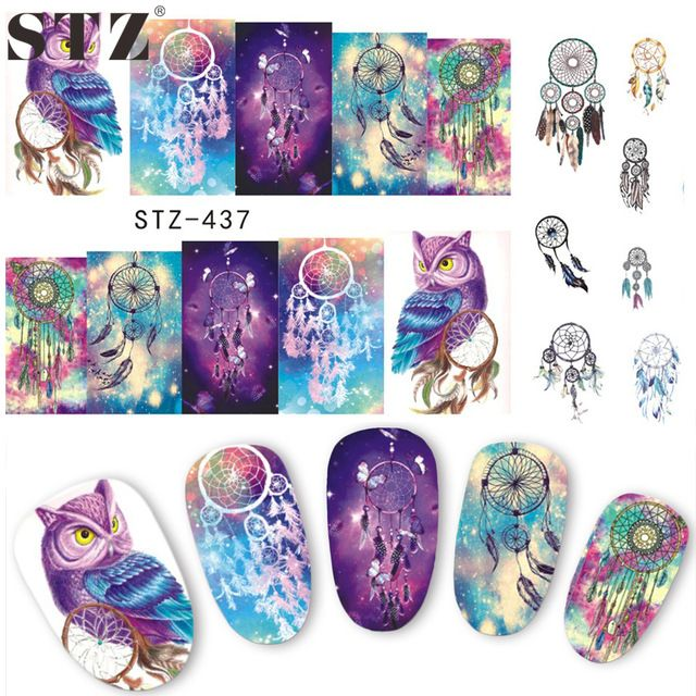 1 Sheets 2017 Hot Selling Owl Bells DIY Full #Stamp #Nail Sticker Women Sexy Cute Watermark DIY Polish for Nail Decals STZ437/8