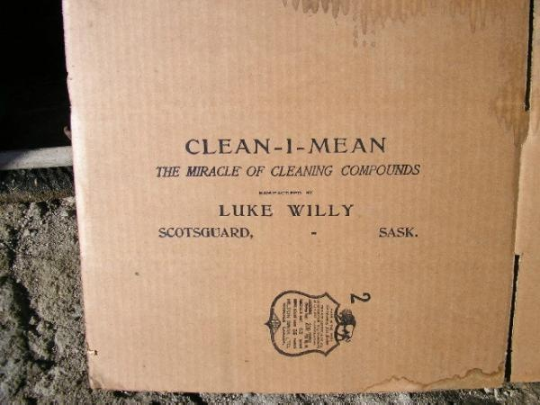 A cardboard box that would have contained lye soap. Luke Willy was also the town cop. He made the soap and sold it locally. He was a blacksmith as well. The late 20's and 30's.