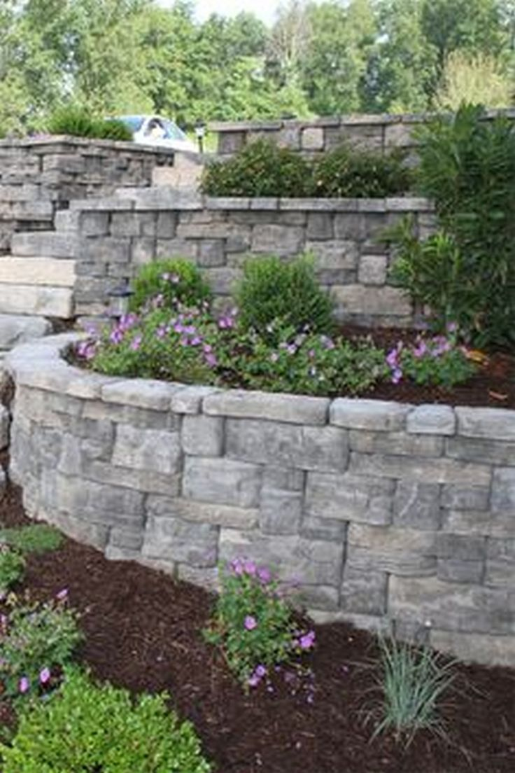 Beautiful front yard retaining wall to maximize your front home
