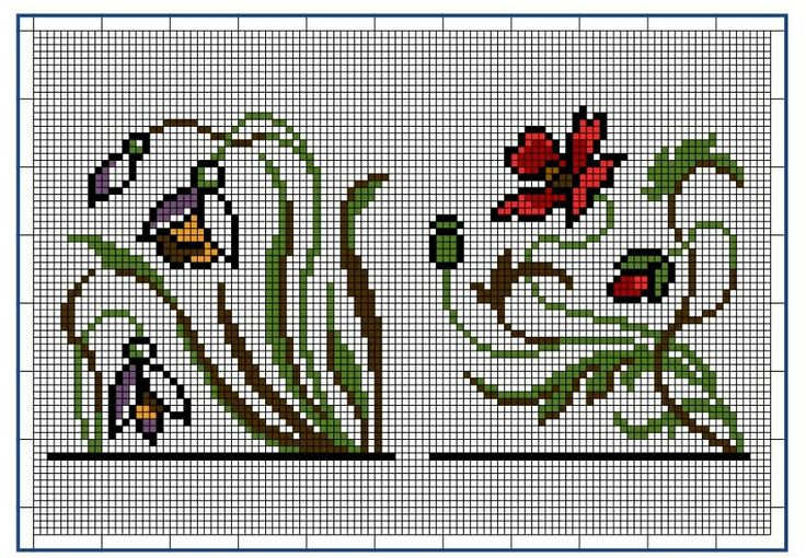 Moderne Stickerei-Vorlagen, Secession, Jugend-Styl, page 4. c. 1915. Art Nouveau cross-stitch, flowers.