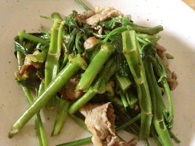 おばあ直伝沖縄料理!空芯菜ニンニク炒め    沖縄ではウンチェーと呼ばれているポピュラーな野菜。簡単であっという間に出来ます。ごはんがすすみますよ♪