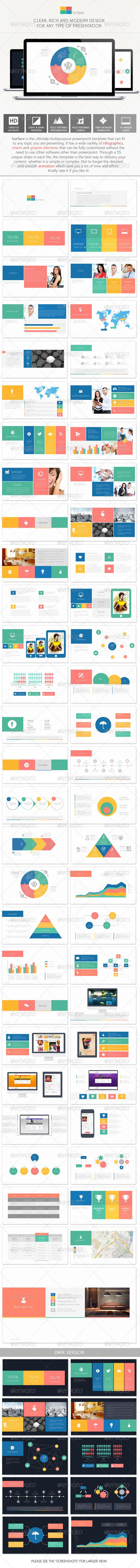 Surface Multipurpose PowerPoint Template (Powerpoint Templates) #Powerpoint #Powerpoint_Template #Presentation