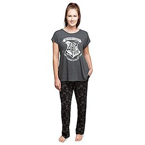Harry Potter Hogwarts Crest T-Shirt and Pant Sleep Set   ThinkGeek