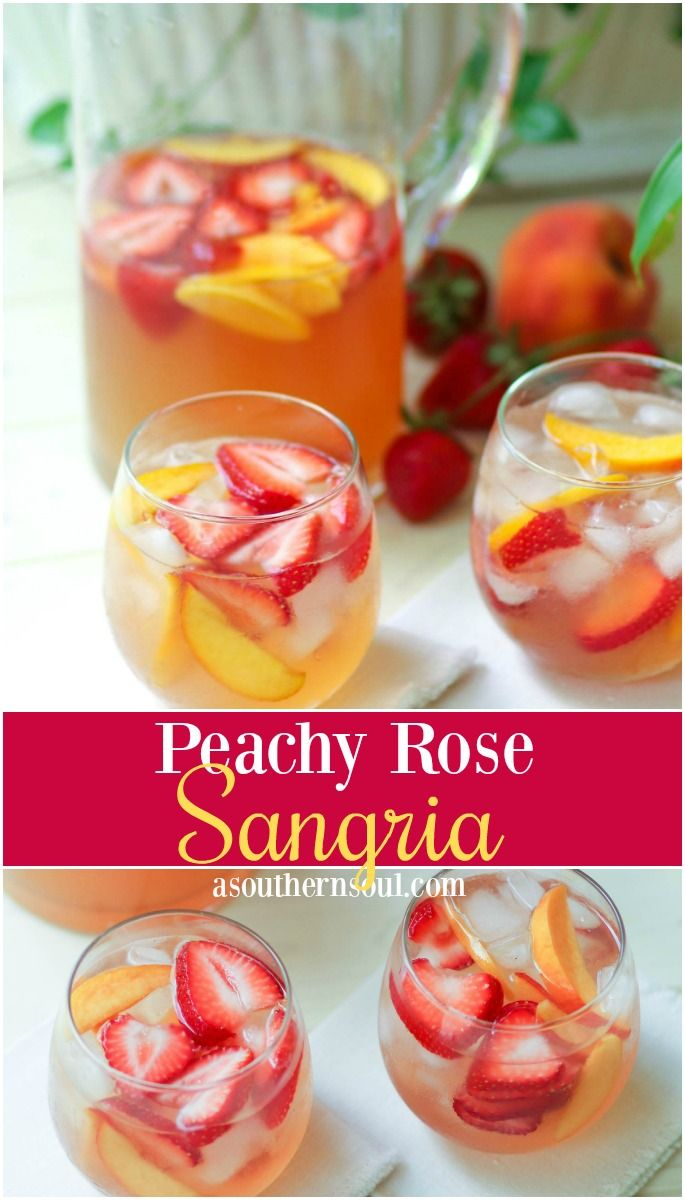 Peachy Rose Sangria Is A Light Refreshing Drink That S Ideal For Summertime Sipping Flavored With Fresh Frui Rose Sangria Peach Sangria Recipes Fruit Sangria