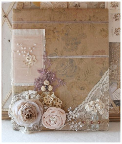 Fabric journal with flowers: