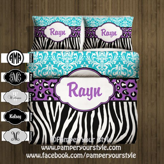 Damask, Zebra and Leopard Bedding  -  Personalize with Name or Monogram - Pick Your Color and Size - Create My Own Bedding on Etsy, $129.00
