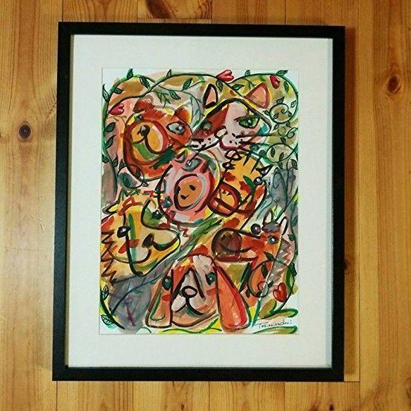 額入りTokinoirodoriアート『おともだち』●額(フレーム)サイズ外側:約520mm×420mm厚み:約35mm色:ホワイト額面:ガラス●...|ハンドメイド、手作り、手仕事品の通販・販売・購入ならCreema。