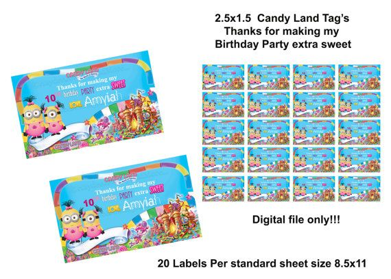Candy land and Minions Girls Birthday  tag labels 2.5x1.5