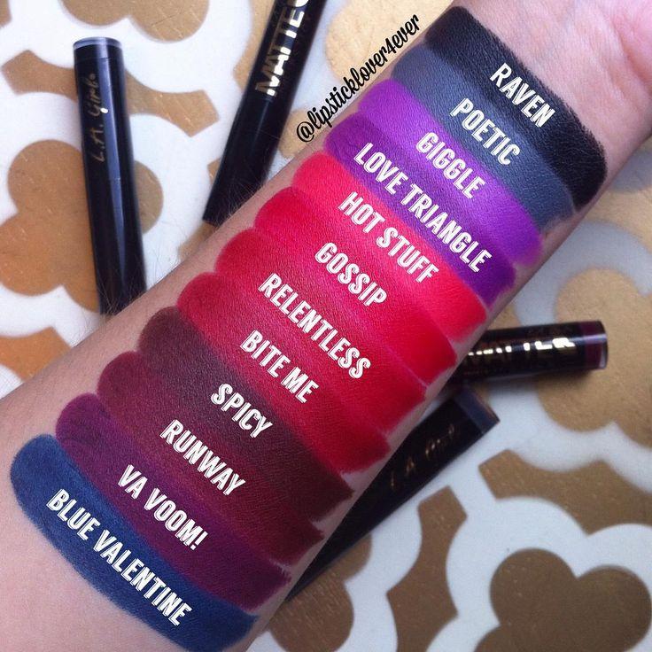 La Girl Line Art Matte Eyeliner Review : La girl matte flat velvet lipstick swatches by