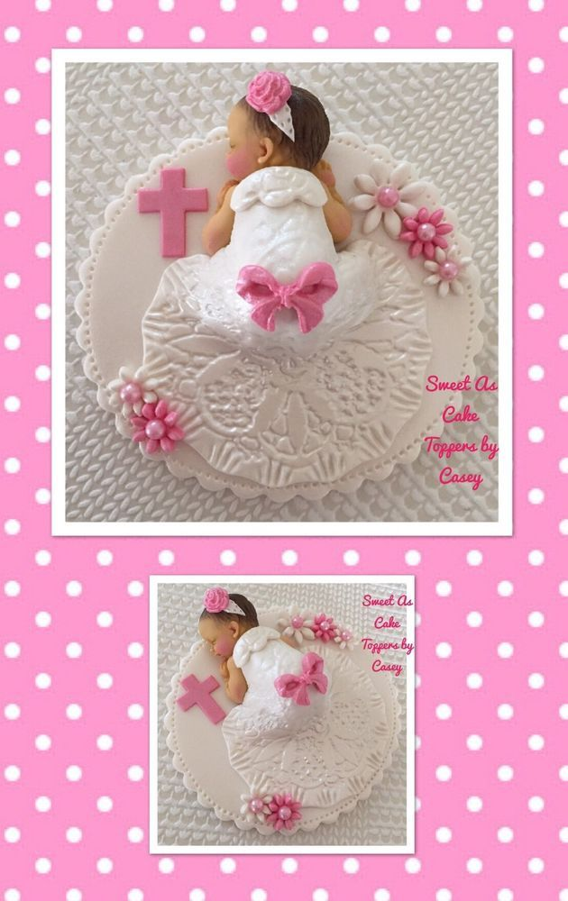 Beautiful White & Pink Baby Girl Christening Cake Topper. Decoration. Baptism.  | eBay