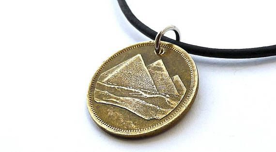 Egyptian Coin necklace Pyramids Middle Eastern Vintage