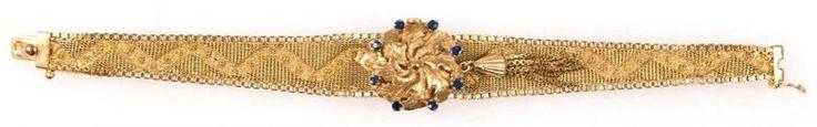 """Damenuhr als Armband gearbeitet, 750er GG, um 1940, Uhr """"Carib Incabloc"""", 17 Rubis,Handaufzug, funk — Schmuck"""