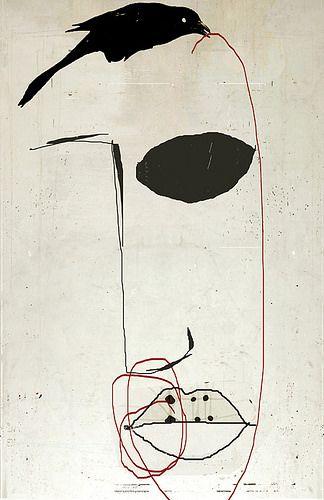 Blind Contour Line Drawing Face : Best crow art d images on pinterest crows ravens