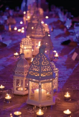 White Moroccan Lanterns Suspended by 1 Meter by BlingFlingBoutique