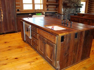 Barn wood cabinets crafted from recovered barn wood and feature hand forged hinges, leather pulls, copper sinks and natural wood counters How to Know More about Barn Wood Cabinets. Description from gercabin.com. I searched for this on bing.com/images