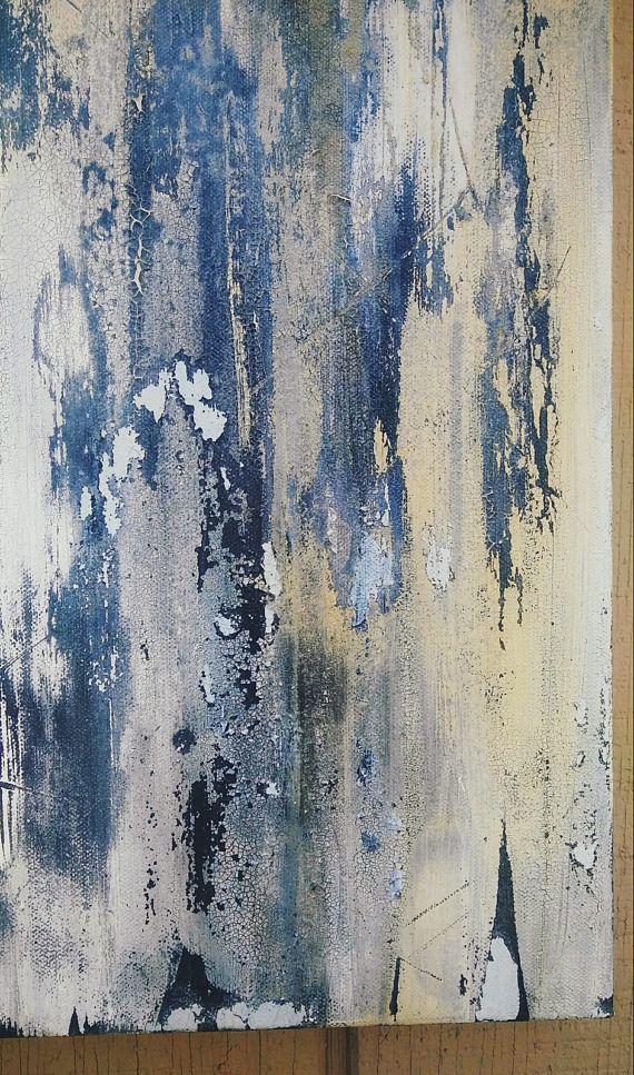 Sun Day by Amy Neal, Original Textured Abstract Art, Indigo Blue ...