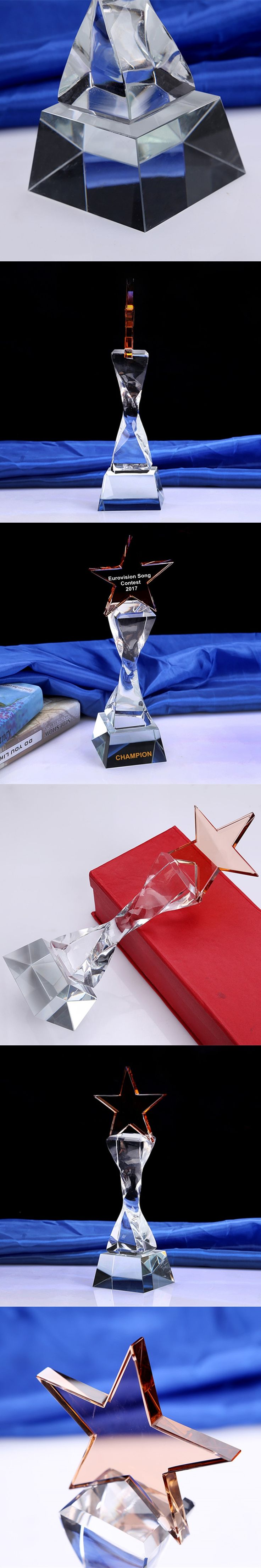 Customized Crystal Trophy Engraved Logo Or Words Glass Award Eurovision Song Contest Champion Awards Cup Sports Souvenirs