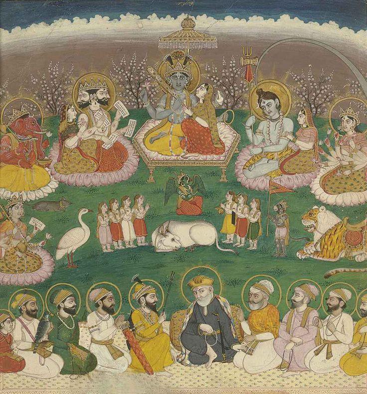 8 Sikh gurus & Guru Nanak below the 8 great Hindu Deities. Punjab Hills India 19th C.