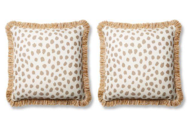 S/2 Poka 20x20 Sunbrella Pillows, Taupe/Ivory