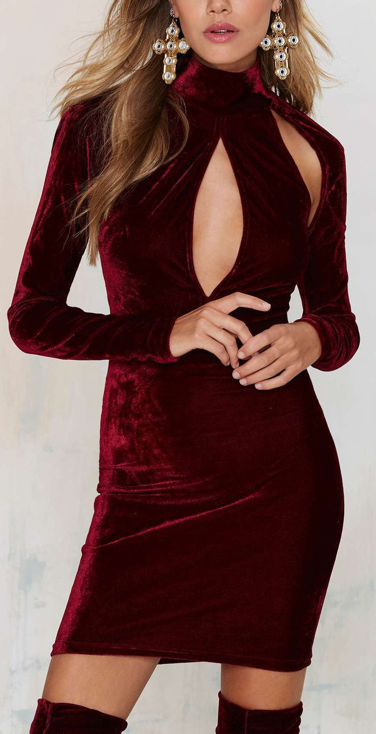 Oxblood velvet dress