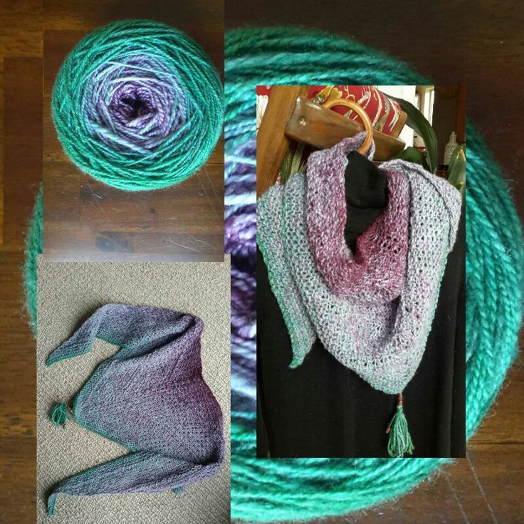 Triangle scarf knitted with ball dyed wool.
