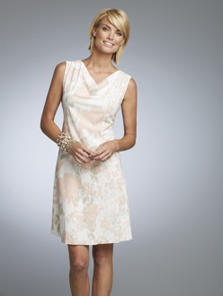 ALLURE 4    S13322  Mixed Floral Wash Print Dress  Available in *Off White/Salmon/Sand  Sizes: XS - XXL