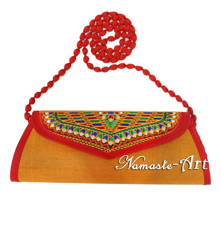 Indian Silk Beautiful Handmade Floral Design Embroidery Work & Clutch Carry Bag  #Namasteart #Clutch