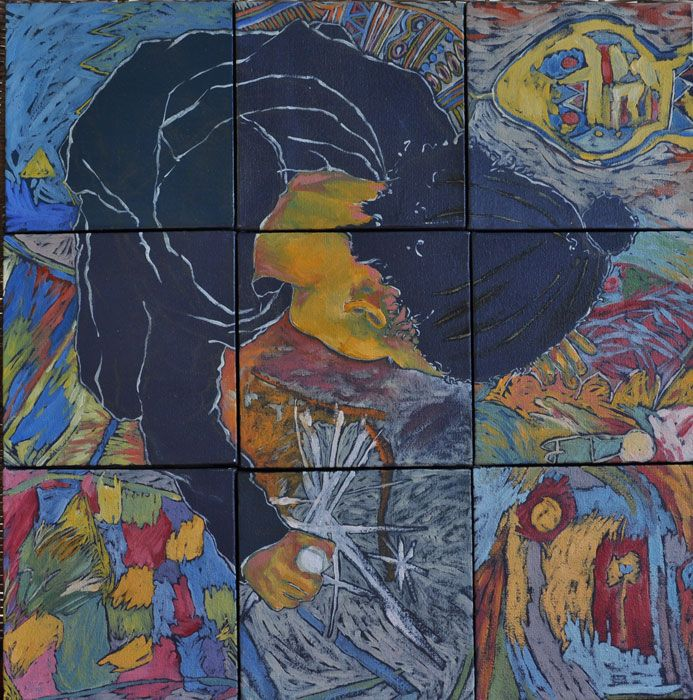 In the Spirits of Stars (oil on canvas, square mosaic 9 X  : 150X150mmX22mm)  by Lisl Barry www.lislbarry.co.za as part of the Prince Albert Pavement Art Project #pa_rt