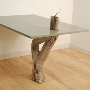 Concrete U0026 Driftwood Table   Glass Fiber Reinforced Concrete, Natural Grey,  Top: 36
