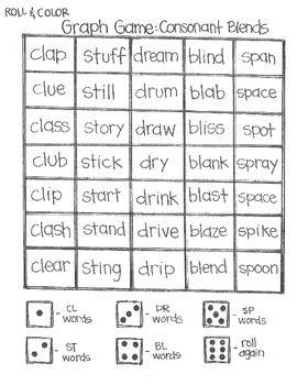 ****FREE****Roll & Color: Graph Games: Simple Sounds cl, dr, st, sp, bl