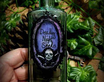 Vintage Halloween decorazione Dealy notte ombra bottiglia di veleno Ooak