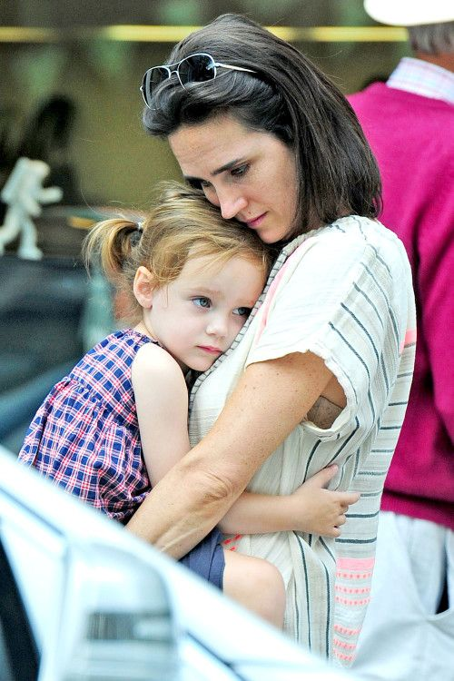 Jennifer Connelly and her daughter Agnes out in London on June 26th, 2014.