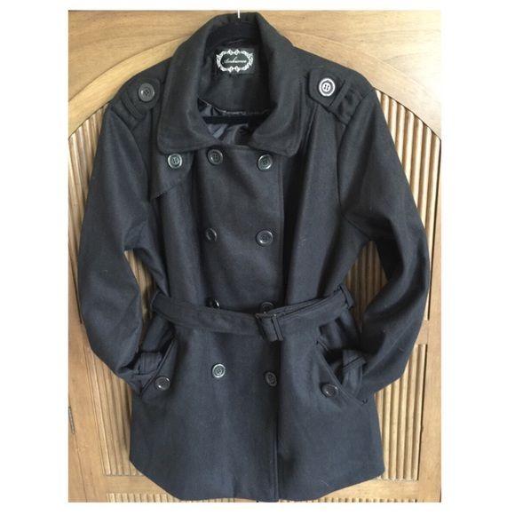 Black Plus Size Peacoat - never worn Never worn! Black belted pea coat. Jackets & Coats Pea Coats