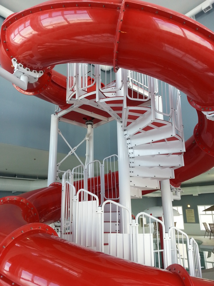 It may take you a few steps to get to the top, but you'll thrill in the excitement of the trip down the water slide!