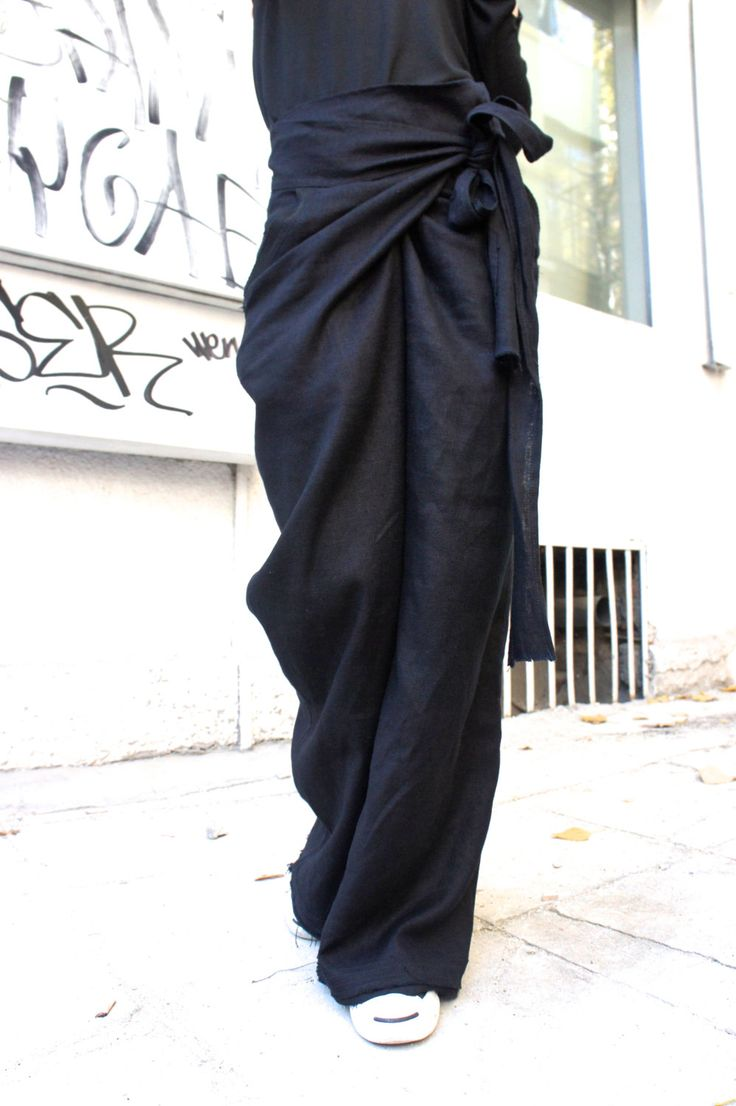 Sciolto lino nero pantaloni / gamba larga pantaloni di Aakasha