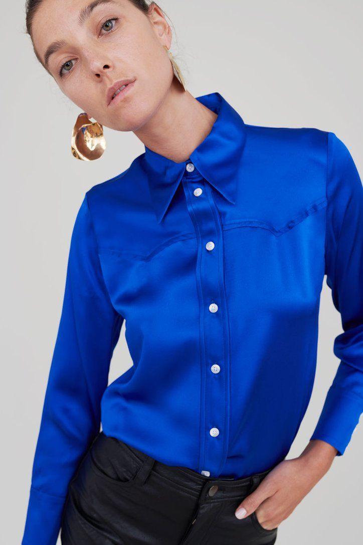 Sergio Western Shirt in Royal Silk