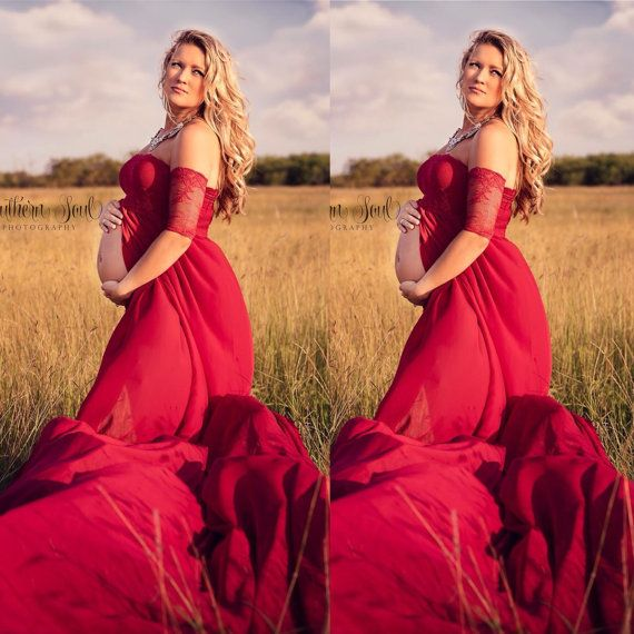 Gorgeous Chiffon Double Skirt Butterfly Maternity Gown, with lace sleeves and with yards and yards of flowing material for that wind blown look.