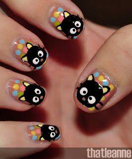 DIY Chococat nail art ---OMG!!! <3 <3 So cute!!!