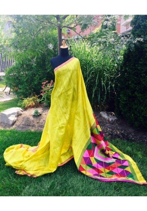 Yellow Hand Woven Matka Silk Sari