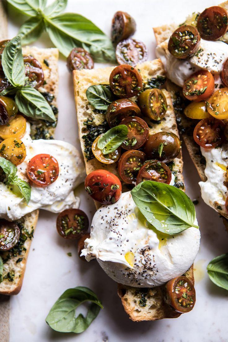 Caprese burrata garlic bread