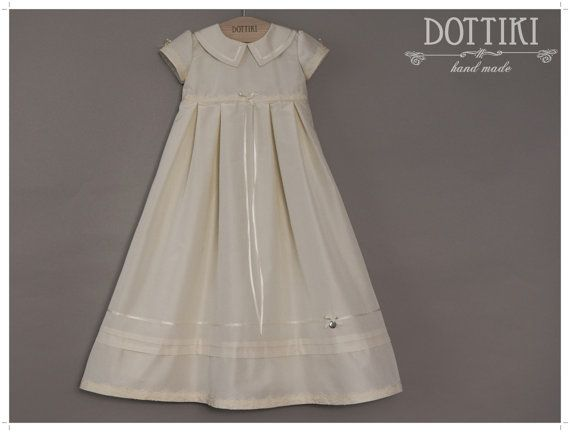 Christening Silk Gown Baptism Dress Baptism Gown by DOTTIKI