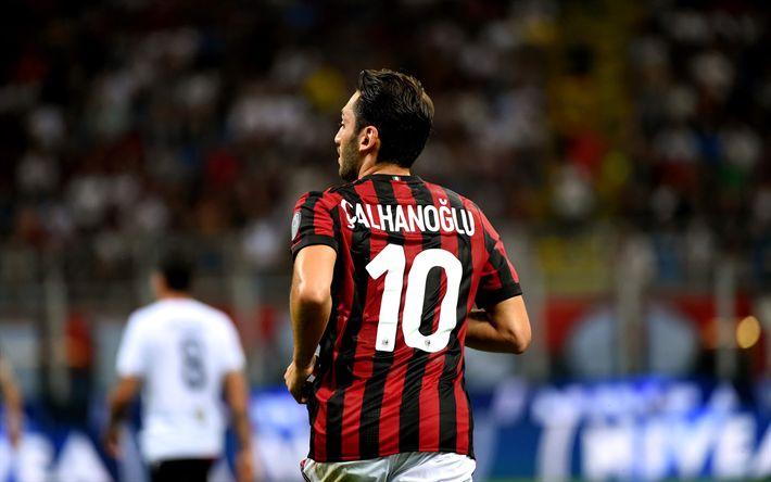 Lataa kuva Hakan Calhanoglu, AC Milan, jalkapalloilijat, Serie, ottelu, jalkapallo, Rossoneri