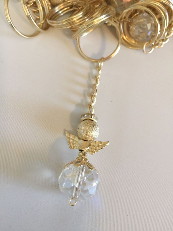 20 Gold Color Angel With Wings Keychain Baptism Communion Wedding Party Favors #baptismcommunionwedding